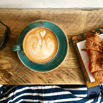 sugar bowl, coffee art, croissant